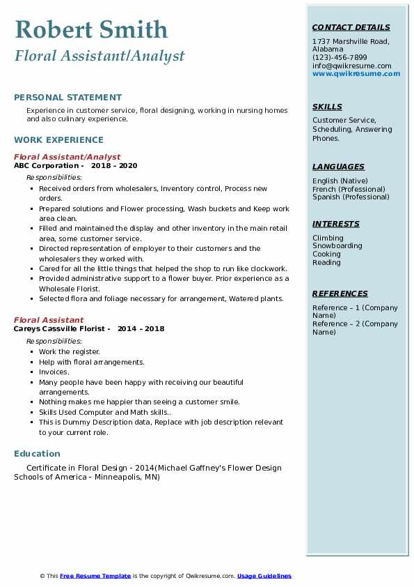 floral assistant resume samples qwikresume pdf summary for warehouse worker quality Resume Floral Assistant Resume