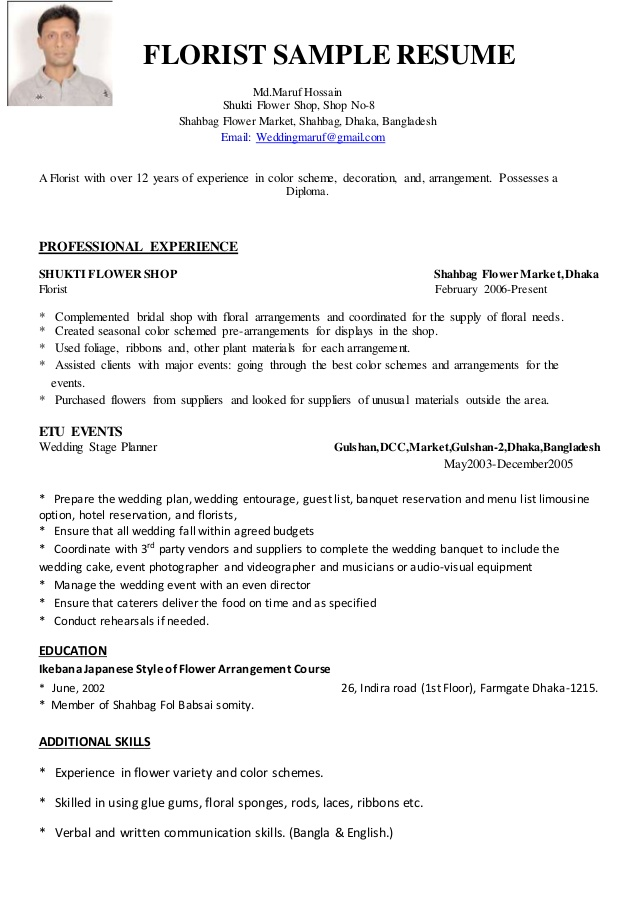 florist resume with no experience january floral assistant sample technical writer Resume Floral Assistant Resume