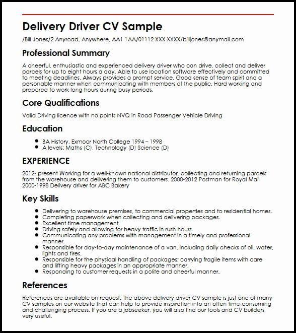food delivery driver resume beautiful cv sample job samples examples package system Resume Package Delivery Driver Resume