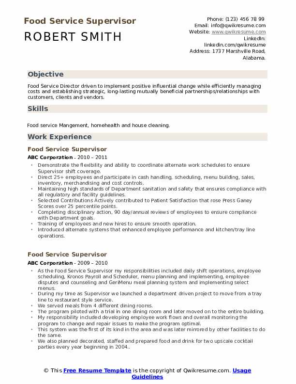 food service supervisor resume samples qwikresume objective examples for services pdf Resume Resume Objective Examples For Food Services