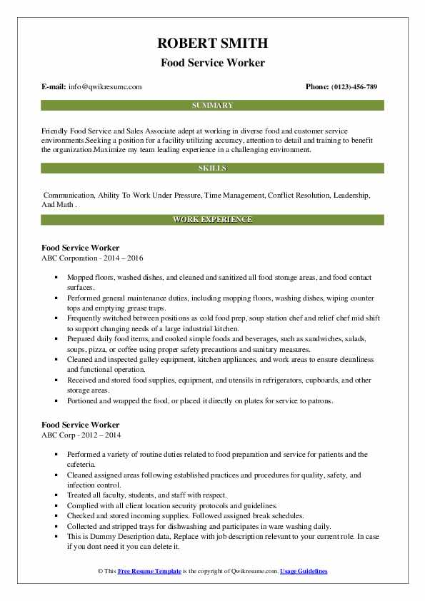 food service worker resume samples qwikresume functional pdf for data entry job without Resume Functional Resume Food Service Worker