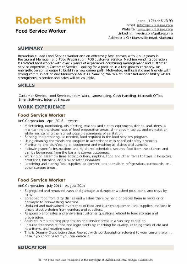 food service worker resume samples qwikresume objective examples for services pdf pet Resume Resume Objective Examples For Food Services