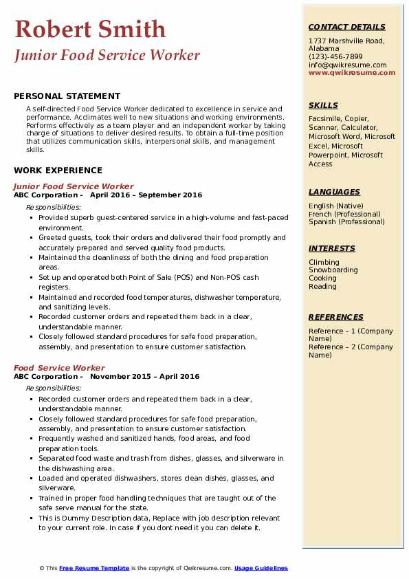 food service worker resume samples qwikresume objective examples for services pdf Resume Resume Objective Examples For Food Services