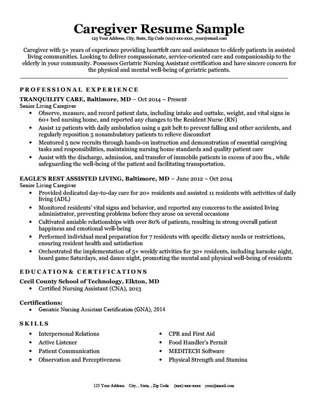 for caregiver skills resume format objective software engineer projects combination Resume Caregiver Resume Objective
