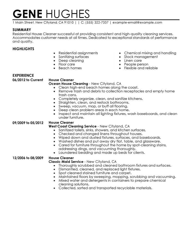 for cleaning company resume format services college education on experience two year home Resume Cleaning Services Resume