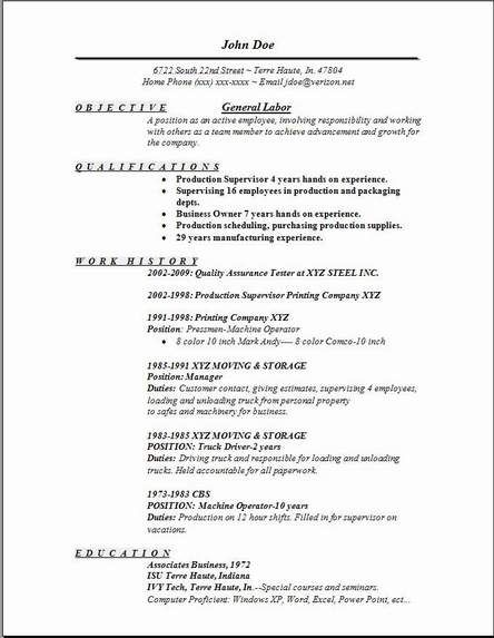 for resume objective format manufacturing sailing example font size scheduling Resume Manufacturing Resume Objective