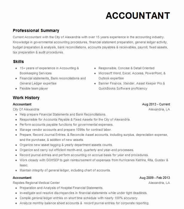 for resume samples accounting format work experience accountant sample of medical Resume Work Experience Accountant Resume