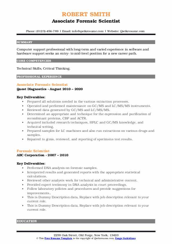 forensic scientist resume samples qwikresume science pdf security guard objective on Resume Forensic Science Resume