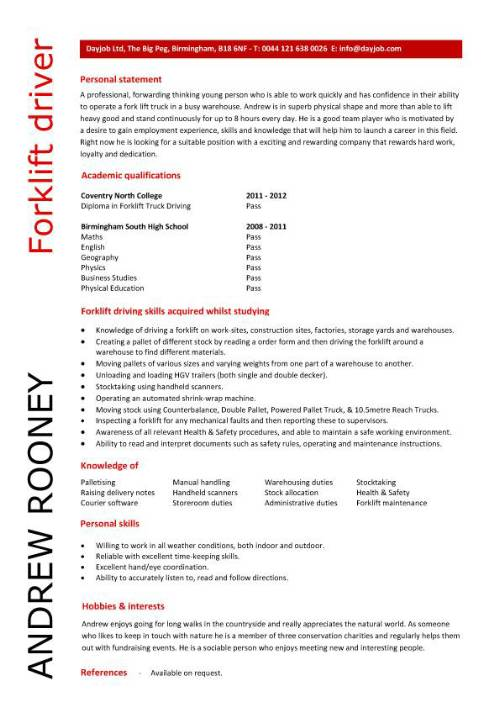 forklift driver resume template example personal skills for pic construction timekeeper Resume Personal Driver Skills For Resume