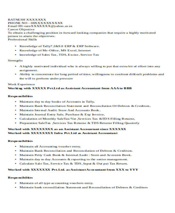 free accountant resume samples in ms word work experience assistant example effective Resume Work Experience Accountant Resume