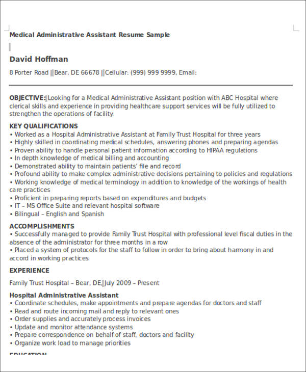free administrative assistant resume objectives in ms word pdf admin sample medical Resume Administrative Assistant Admin Assistant Resume Sample