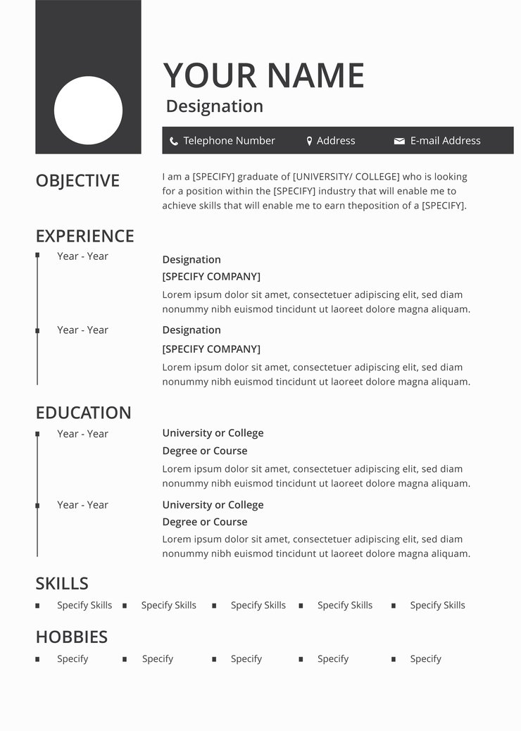 free blank resume cv template in photoshop illustrator and creativebooster designation on Resume Designation On A Resume