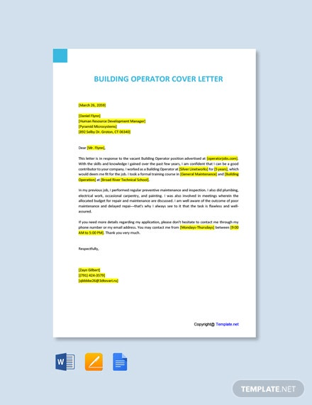 free building operator cover letter template word apple mac google docs resume sample Resume Building Operator Resume Sample