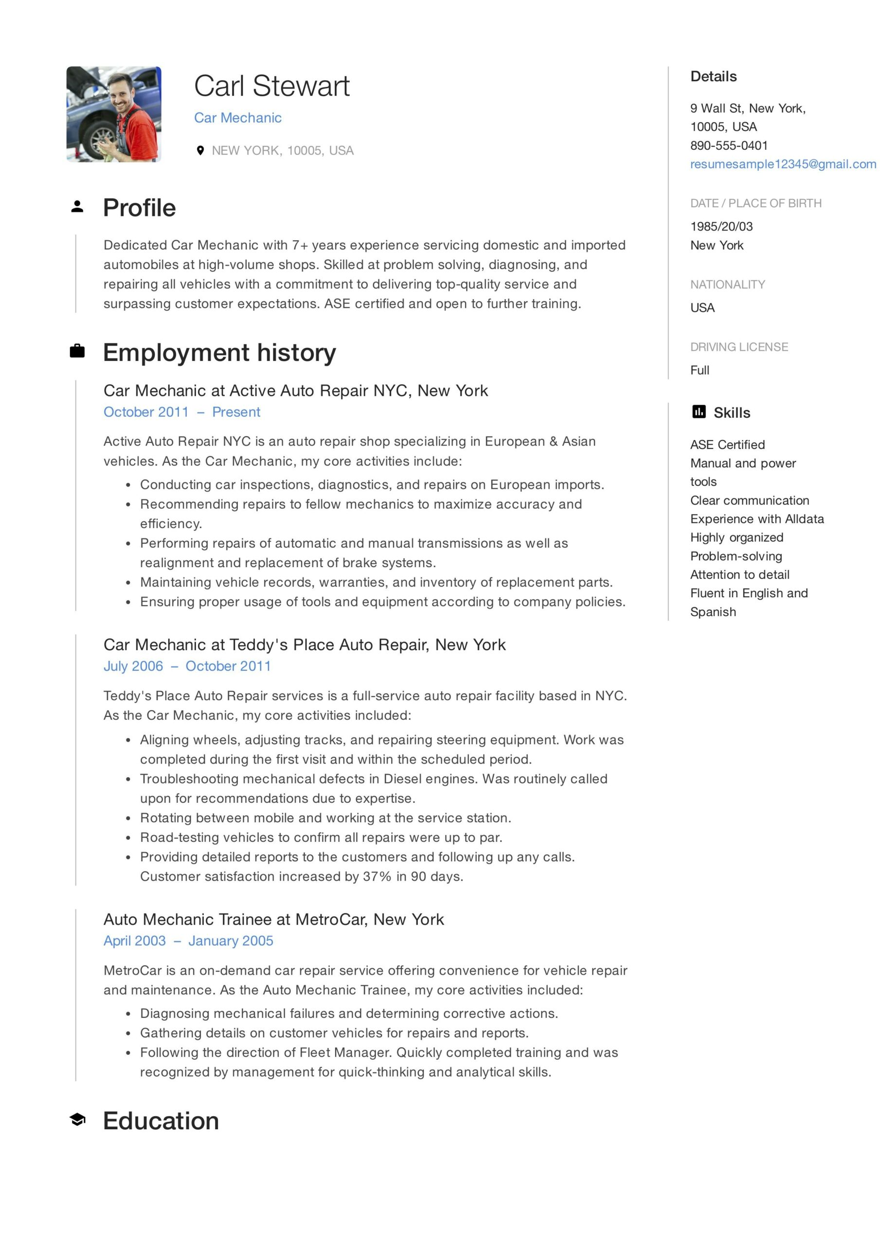 free car mechanic resume sample template example cv skills manager guide workshops nyc Resume Free Resume Workshops Nyc