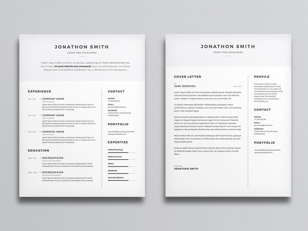 free clean and minimal resume cv template with cover letter in photosh creativebooster Resume Free Minimalist Resume Template Word