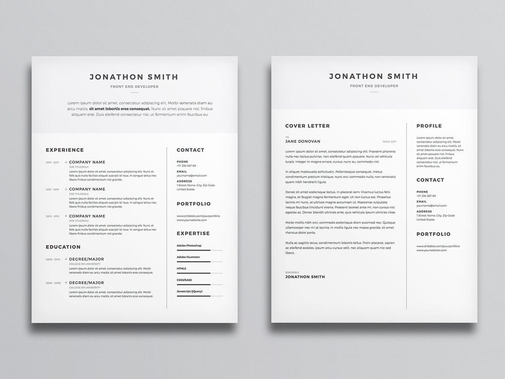 free clean cv and cover letter template with minimal design best resume minimalist office Resume Resume Minimalist Design