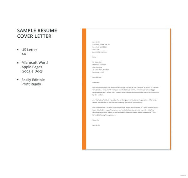 free cover letter template word pdf documents premium templates resume sample template1 Resume Resume Cover Letter Template Free