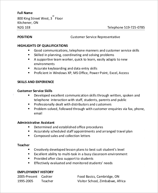 free customer service resume samples in ms word pdf functional example subway templates Resume Customer Service Functional Resume
