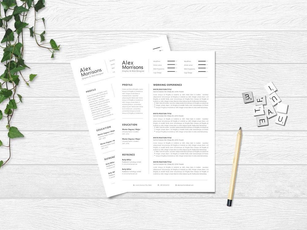 free cv template designs themes templates and downloadable graphic elements on dribbble Resume Free Minimalist Resume Template Word