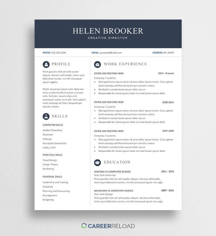 free cv template for word career reload current resume templates helen prince2 Resume Softball Resume Template
