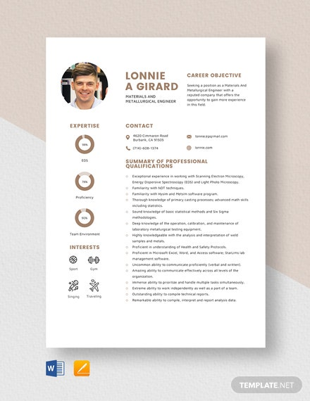 free designer resume cv template word indesign metallurgical engineer materials and Resume Metallurgical Engineer Resume