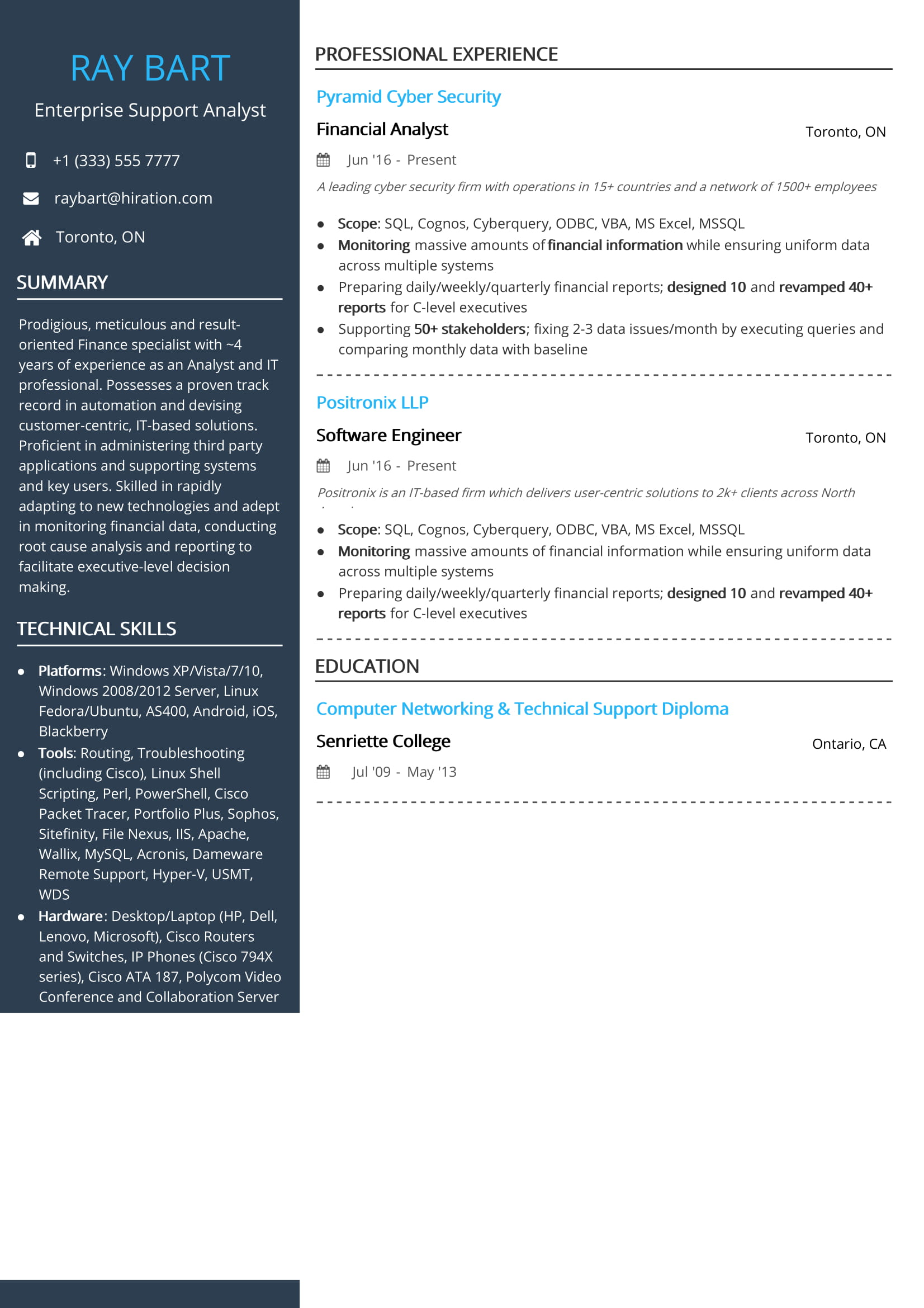 free enterprise support analyst resume sample by hiration specialist toronto modern of Resume Resume Specialist Toronto