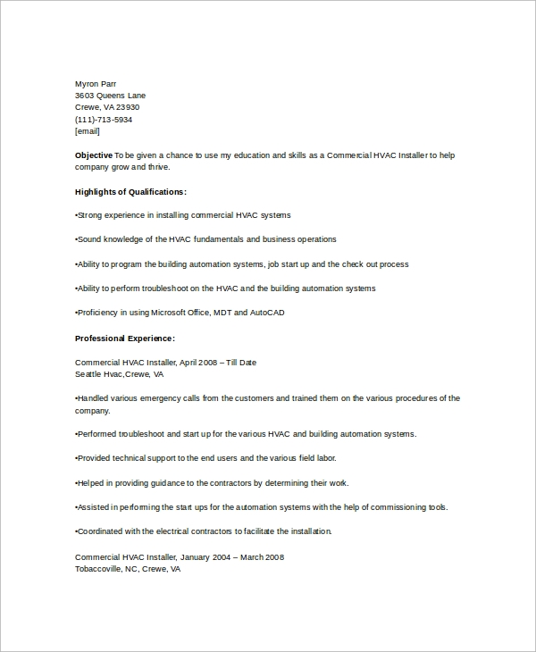 free hvac resume templates in ms word pdf for refrigeration and airconditioning mechanic Resume Resume For Refrigeration And Airconditioning Mechanic