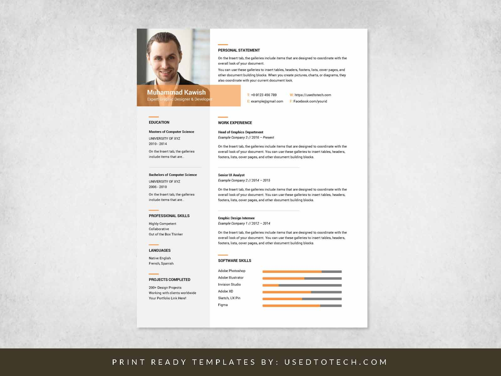 free inspiring graphic designer resume in ms word used to tech professional design Resume Professional Graphic Design Resume