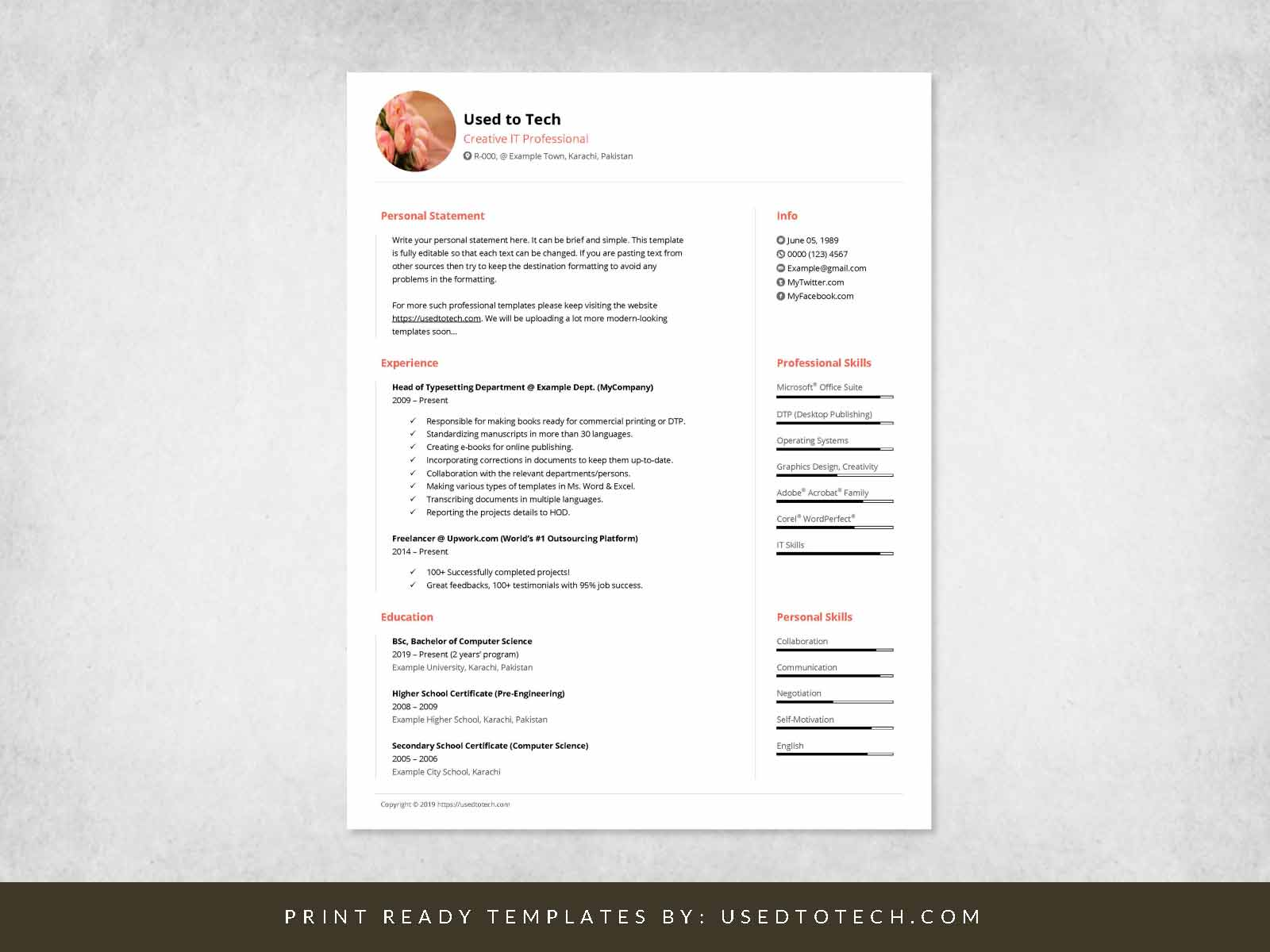 free minimal cv template in ms word used to tech minimalist resume design basic computer Resume Free Minimalist Resume Template Word