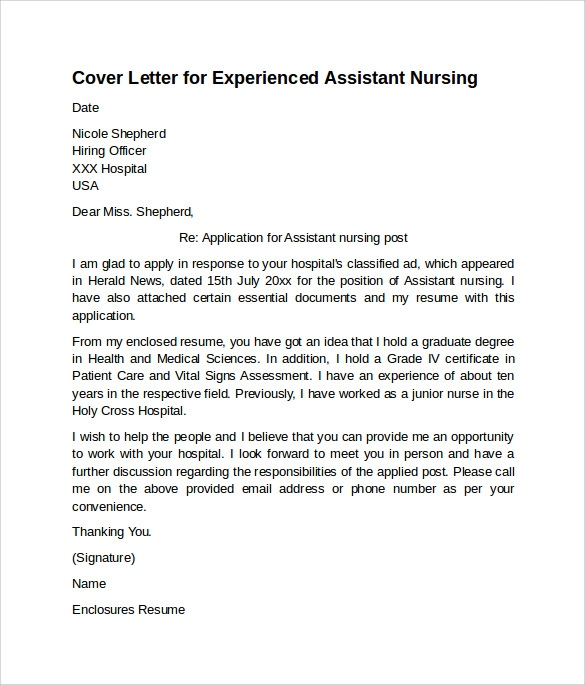 free nursing cover letter examples in pdf for resume assistant experienced primary Resume Cover Letter For Nursing Resume Examples