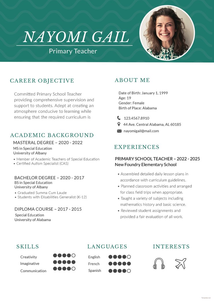 free primary teacher resume cv template in photoshop and microso creativebooster 740x1046 Resume Teacher Resume Template Free