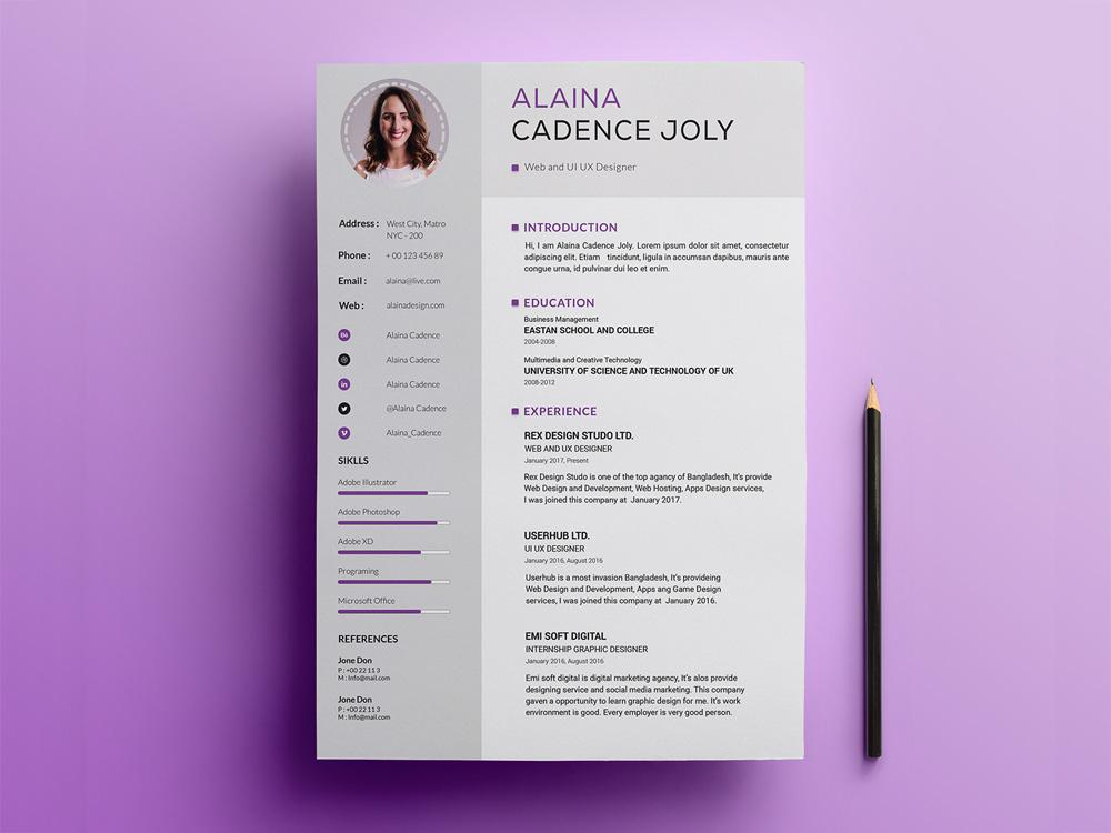 free professional resume cv template with clean design in photoshop creativebooster Resume Free Sample Professional Resume Template