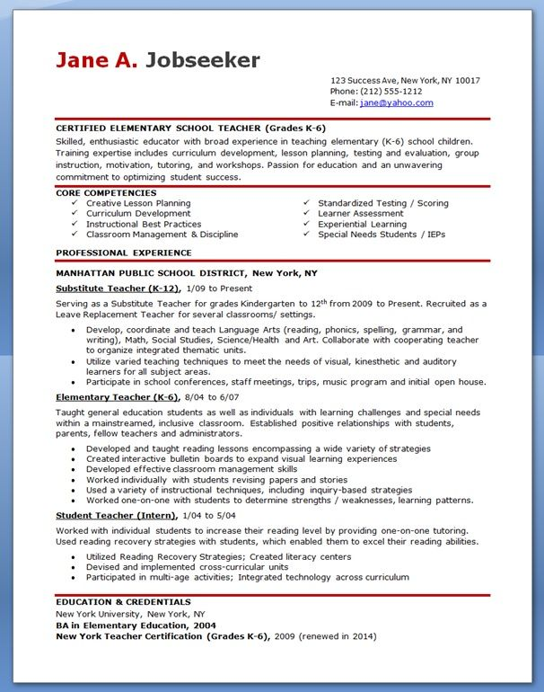 free professional resume templates downloads elementary teacher template teaching Resume Education Credentials On Resume