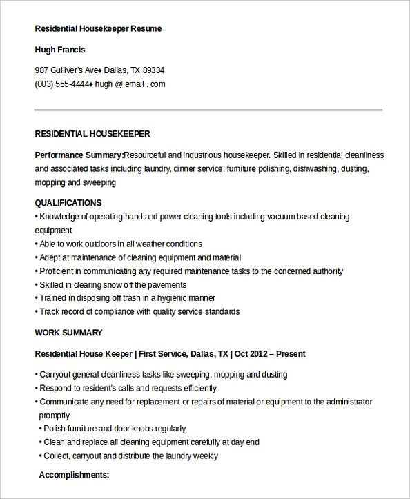 free residential housekeeper resume housekeeping manager do you feel interested to Resume Sample Resume For A Housekeeping Position