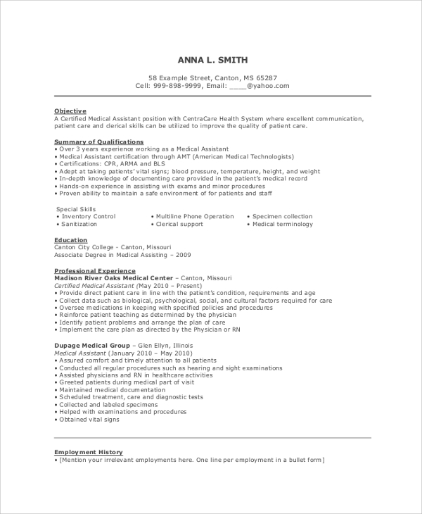 free resume objective samples in pdf ms word examples for medical field assistant cura Resume Resume Objective Examples For Medical Field