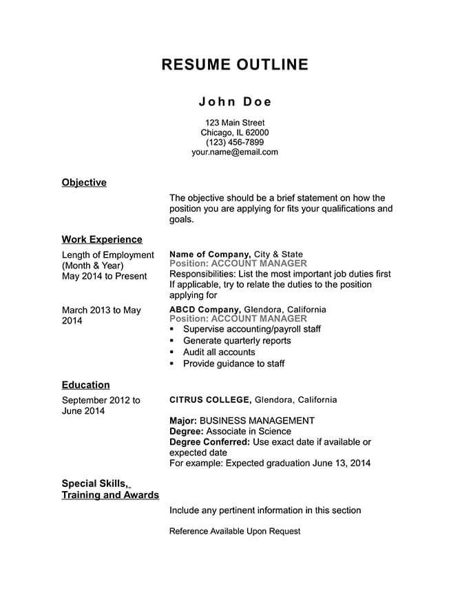 free resume outline templates and step by guide hloom template chronological keywords for Resume Resume Outline Template