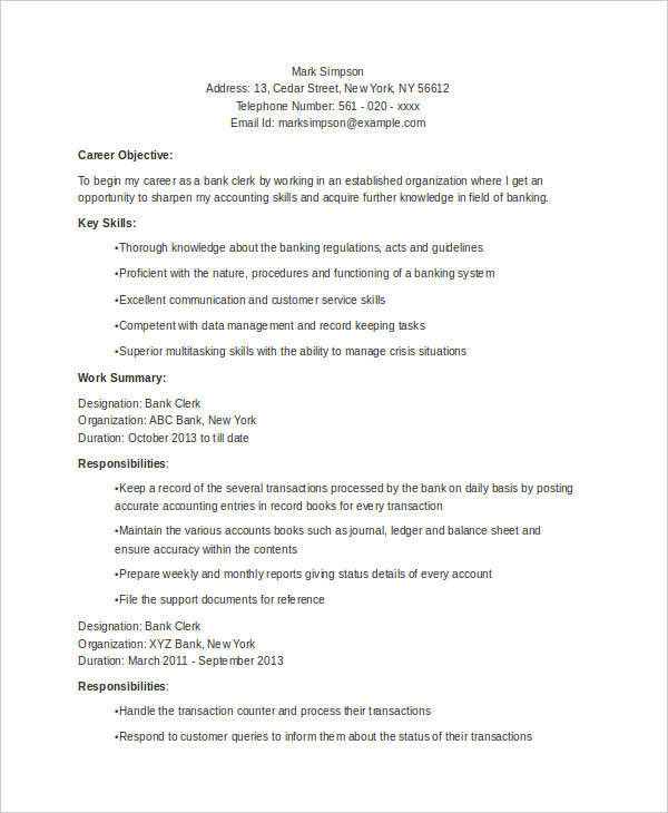 free resume samples in pdf ms word bank format for freshers clerk structural steel Resume Bank Resume Format For Freshers