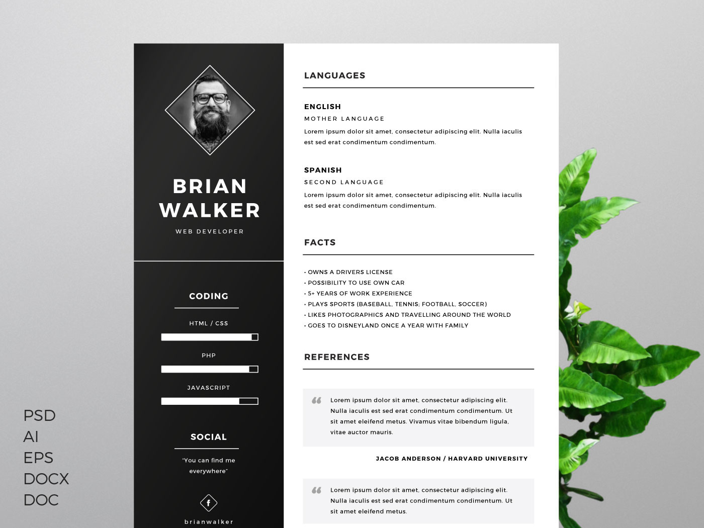 free resume template for word photoshop illustrator on behance templates objective yahoo Resume Illustrator Resume Templates