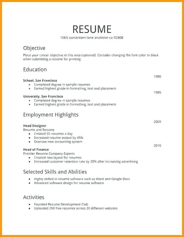 free resume templates first job examples simple template basic audit intern example Resume First Job Resume Template Free