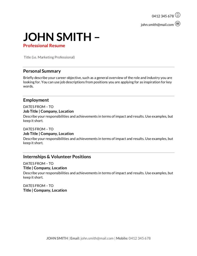 free resume templates to write in training au with one term job indeed format for finance Resume Resume With One Long Term Job