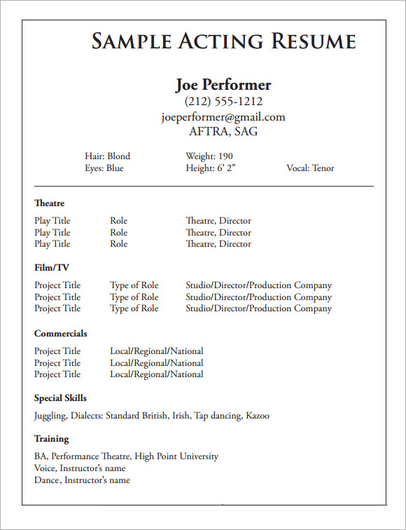 free sample acting cv templates in pdf theatre resume template perfect cover letter Resume Theatre Resume Template