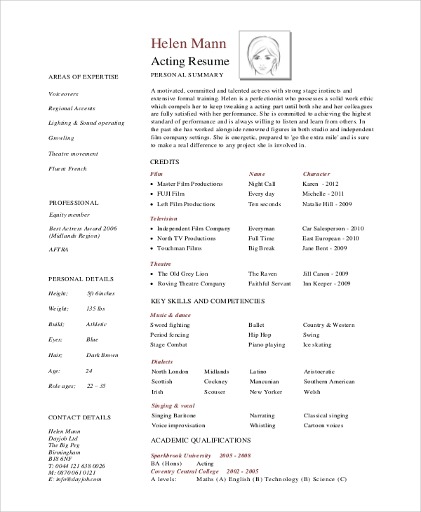 free sample acting resume templates in pdf ms word publisher professional theatre program Resume Professional Theatre Resume