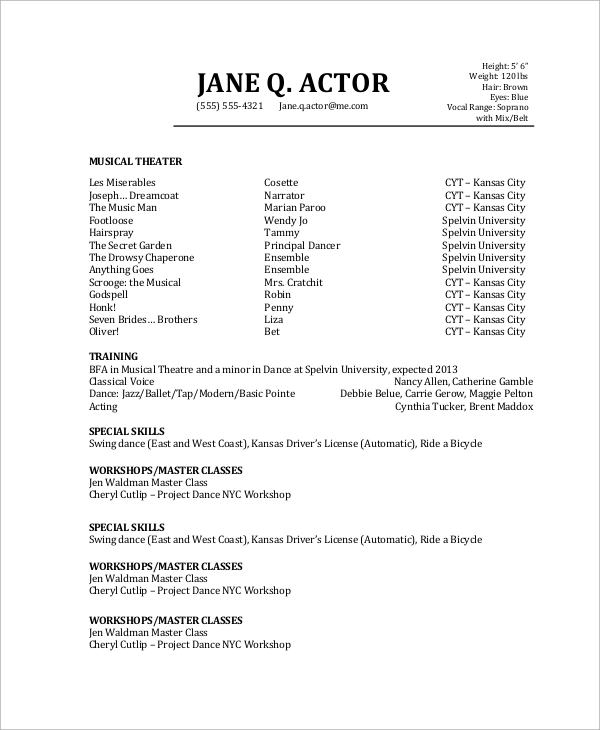 free sample actor resume templates in pdf skills for acting actors with no experience Resume Skills For Acting Resume