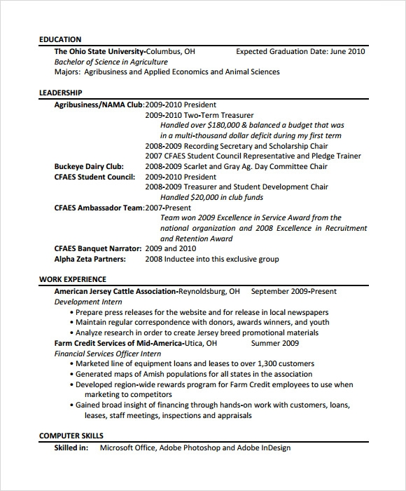 free sample agriculture resume templates in pdf for agricultural engineering template ot Resume Resume Sample For Agricultural Engineering