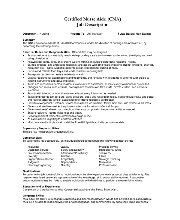 free sample cna resume templates in ms word pdf description for job and duties envelope Resume Cna Description For Resume