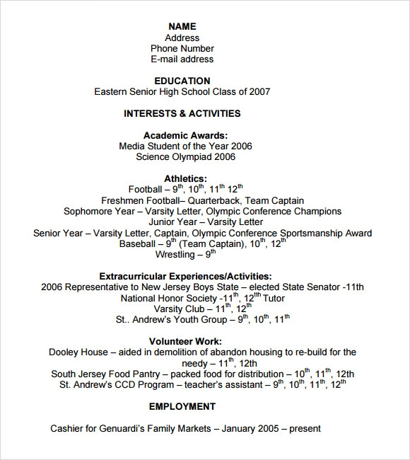 free sample college resume templates in pdf ms word high school sports template for kfc Resume High School Sports Resume Template