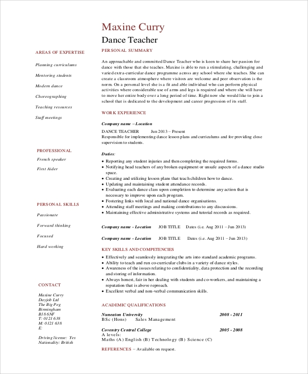 free sample dance resume templates in ms word pdf format for classical teacher safety Resume Resume Format For Classical Dance Teacher