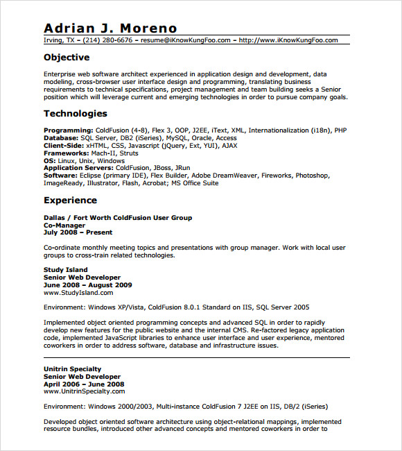 free sample developer resume templates in pdf ms word one year work experience for Resume One Year Work Experience Resume