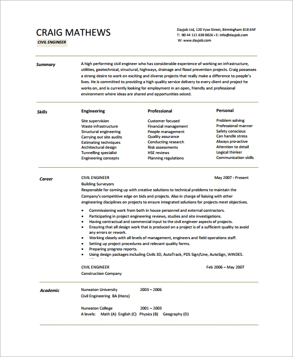 free sample engineering cv templates in pdf technical resume template civil action verbs Resume Technical Resume Template