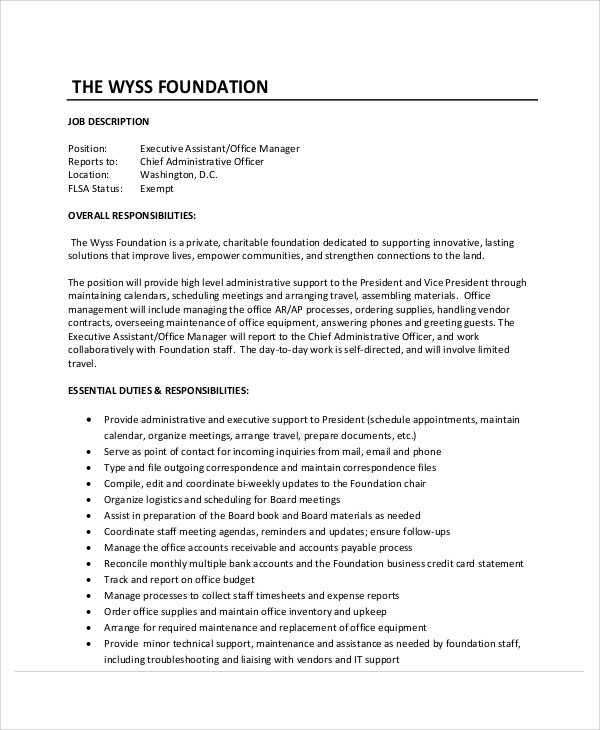 free sample executive administrative assistant resume templates in ms word pdf job Resume Executive Assistant Job Description Resume